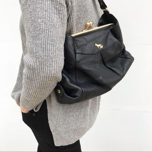 EMMA FOX Kiss Lock Black Leather Shoulder Bag Gold